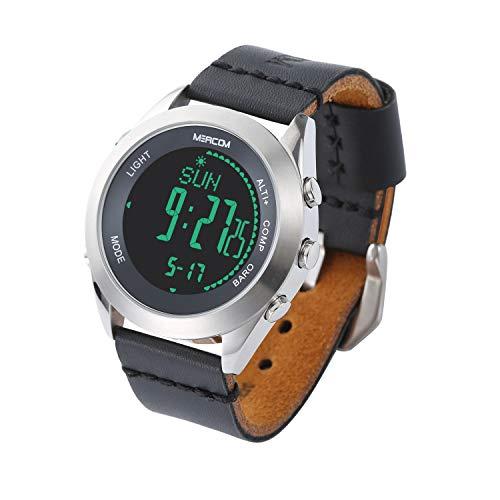 Herren Digital Sport Uhren, MEACOM Outdoor Wasserdichte Armbanduhr Kompassuhr Armee mit Wecker Chronograph und Countdown Uhr, LED Licht Stahlmetallzifferblatt mit Lederarmband (Schwarz)