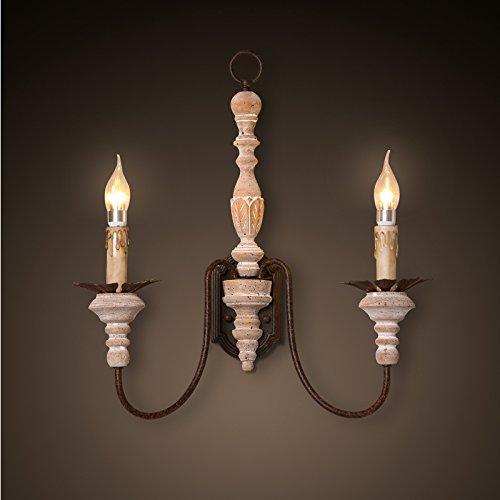 GaoHX Light Americana Candela Doppia Parete Sconces Francese Ristorante Lampada Lampada Da Comodino Navata Scale (Candele Sconce)