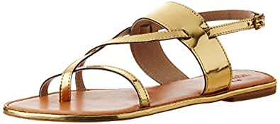 The Trunk Label Women's Stacy Flat Gold Fashion Sandals - 7 UK (ATTUR-100630 - 40)