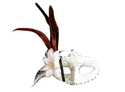 thematys Venezianische Venetianische mit Blume und Feder #2 Maske Maskerade Karneval Fasching Verkleidung Kostüm Halloween Party Maskenball Ball Shades of Grey Mr Grey Mitternacht