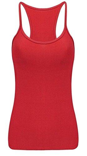 Islander Fashions Womens Microfibra Lycra Canotta Top da Donna Senza Maniche Strappy Dance Party Canotta S-2XL Red
