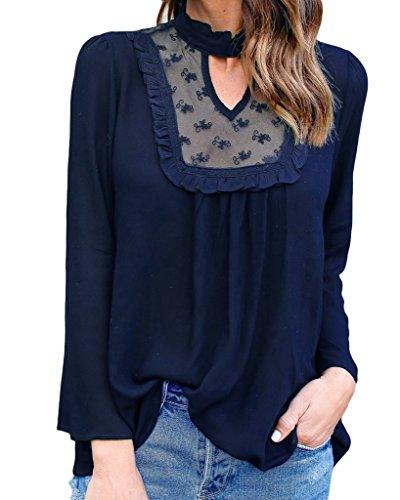 Smile YKK Chemise Mousseline de Soie Femme Dentelle T-shirt Tops à Manches Longues Blouse Casual Bleu