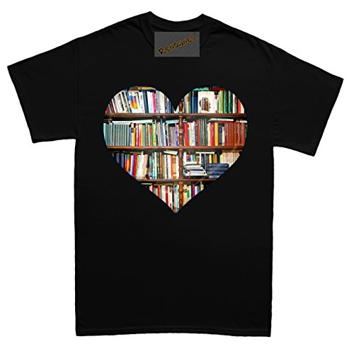 Renowned Love Books inside heart 3D Unisex - Kinder T Shirt Schwarz
