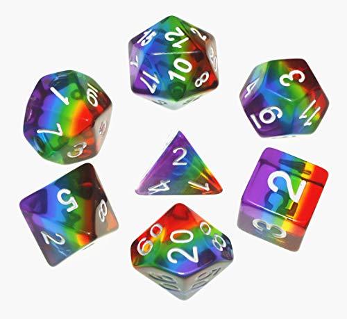 Flexble DND Polyedrische Würfel RPG Regenbogen Würfel Set für Dungeons und Dragons(D&D) Pathfinder MTG Tisch Spiel Würfel 7 Würfel Set W20 W12 W10 W8 W6 W4 (Regenbogen Würfel) -