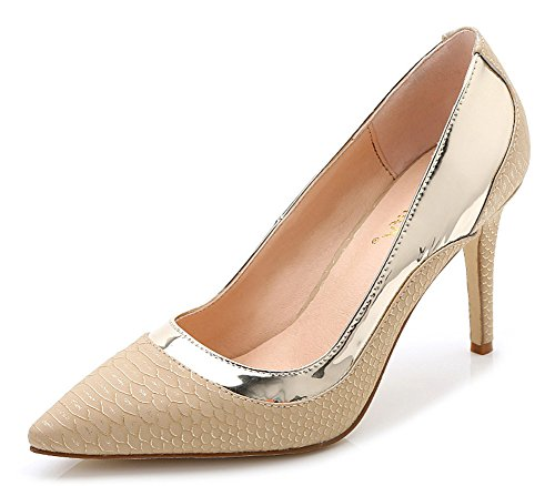 Aisun Damen Schuppen-Optik Metallic Spitz Stilletto Pumps Gold