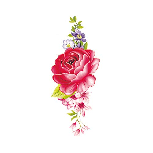 4 Yakuza Kostüm - Blume Tattoo Sticker Damen Brust Bauch Kostüm Studio Rose Pfirsich Pfingstrose Tattoo Sticker 3Pcs-1 90 * 190MM