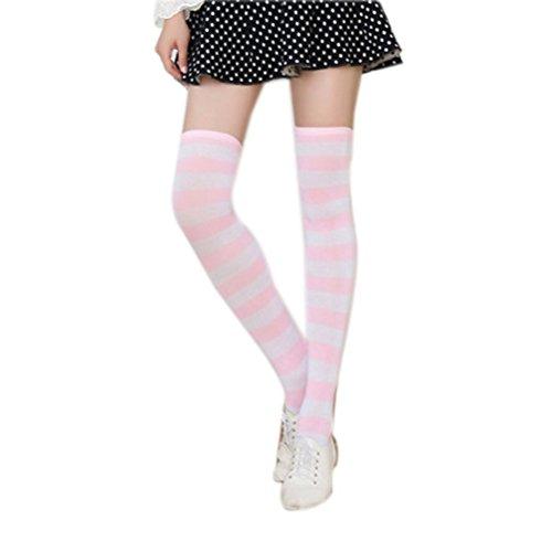 OULII Frauen Oberschenkel Hohe Socken Überknie Strumpf mit Breiten Streifen