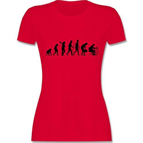 Evolution - Computer Evolution - tailliertes Premium T-Shirt mit Rundhalsausschnitt für Damen Rot