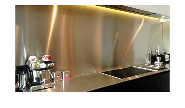 Brushed Stainless Steel Splashback Height 50 cm x Width 90 cm