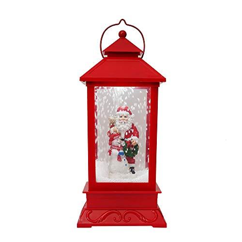 Momola Weihnachten Laterne,Laterne mit Schneespiel und Musik Schneiende Weihnachtslaterne Warm Weiße Schneefall LED für Innen 18 x18 x 44cm (Weihnachtsmann mit Schneemänner)