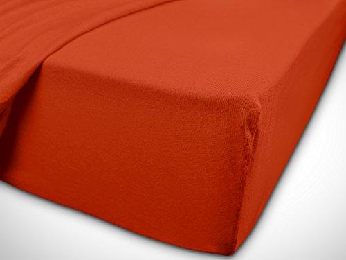 npluseins klassisches Jersey Spannbetttuch - erhältlich in 34 modernen Farben und 6 verschiedenen Größen - 100% Baumwolle, 90-100 x 200 cm, kaminrot - 7