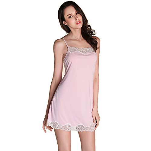 Rainbow Fox Été vêtement de nuit aux femmes vêtements de nuit sexy Creux Harnais dos nu lingerie Soie Satin pyjamas pour Dame Light Pink