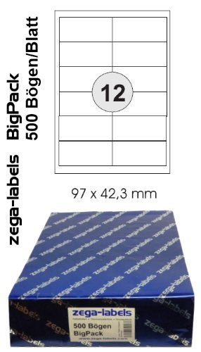 6.000 Etiketten 97 x 42,3 mm selbstklebend auf DIN A4 Bögen (2x6 Etiketten) - 500 Blatt Bigpack - Universell für Laser/Inkjet/Kopierer einsetzbar - 97 x 42 mm (Avery Adressetiketten Inkjet)