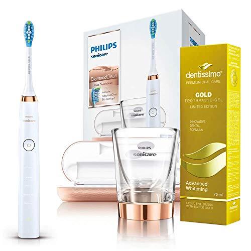 Philips Sonicare DiamondClean Elektrische Zahnbürste HX9396 Rose Gold mit DeepClean funktion + Dentissimo Zahnpasta Gel Advanced Whitening GOLD