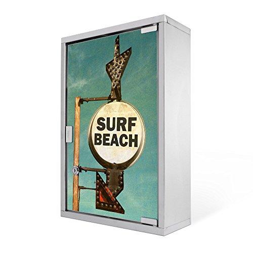 #Medizinschrank groß Edelstahl abschliessbar 30x45x12cm Arzneischrank Medikamentenschrank Hausapotheke Erste Hilfe Schrank Motiv Surf Beach#