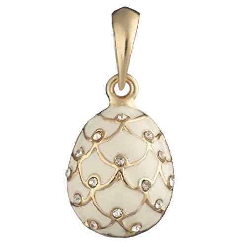 danila-souvenirs Fabergé-Stil Ei Anhänger/Charm Tannenzapfen mit Kristallen 2,1 cm weiß #6401-01