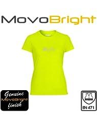 Runners Autumn Winter Tshirt. Ladies Bright Hi Viz Reflective Performance Top. Fluorescent Yellow High Visibility 2014 Running Top Genuine MovoBright finish. Wicks Sweat. Be Safe Seen.