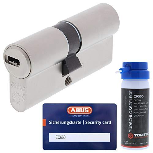 ABUS Sicherheitsschloss Profilzylinder als Doppelzylinder EC660 GS gleichschließend inkl. 3 Schlüssel je Bestellung mit Sicherungskarte Größe 30 30mm + ToniTec Pflegespray