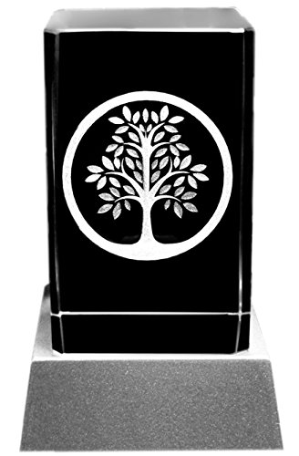 Kaltner Präsente Stimmungslicht - Das perfekte Geschenk: LED Kerze / Kristall Glasblock / 3D-Laser-Gravur Motiv BAUM DES LEBENS