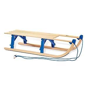 Pinolino Davos-Klappschlitten aus Holz, zusammenklappbar, inkl. Zugseil, Belastbarkeit 75 kg, für Kinder ab 3 Jahren, klar lackiert