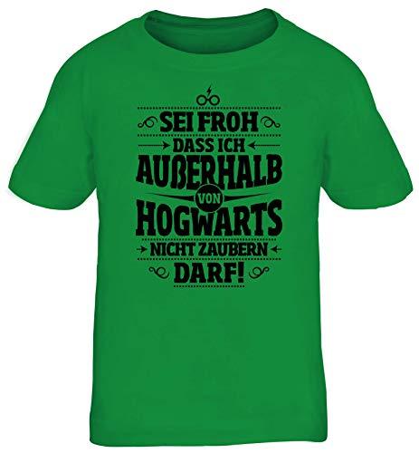 ShirtStreet Fanartikel Fan Kult Film Kinder T-Shirt Rundhals Mädchen Jungen Außerhalb von Hogwarts, Größe: 152/164,Kelly Green