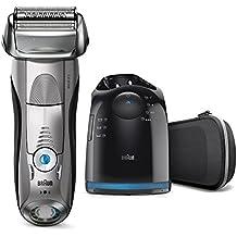 Braun Series 7 7898cc - Afeitadora eléctrica de lámina para hombre, en húmedo y seco, máquina de afeitar con recortadora de precisión extraíble, recargable e inalámbrica, Clean&Charge, plata