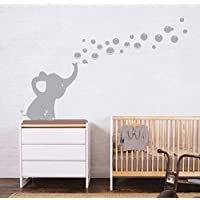 MAFENT One Lovely Elephant Blowing Bubbles Wall Decal Vinyl Wall Sticker for Baby Nursery and Kids Room Wall Decorations