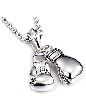 Yorwell Herren Kette Edelstahl Halskette mit Anhänger Boxhandschuh 22 Zoll Silber Kette für Männer