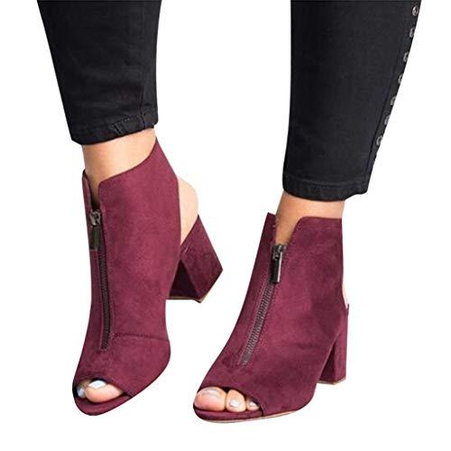 Patent Chunky Heel Sandal (Btruely Sandalen Damen Sommer Plattform Keile Schuhe Frauen Runde Zehe Atmungs Rivet Strand Sandalen Boho Casual Keile Sommerschuhe Outdoor Strand Schuhe)