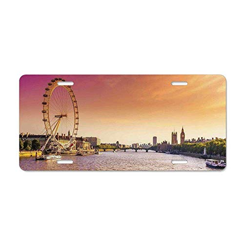 Ganheuze London,Sunset View Bridge on Thames River Ferris Wheel London Eye Big Ben Westminster,Peach and Pink Personalized Novelty License Plate Cover 4 12 x 6 in