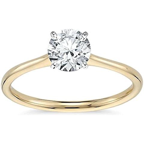 Lilu Jewels 1/3C.T T.W. Moissanite anello di fidanzamento solitario in oro 14K Placcato