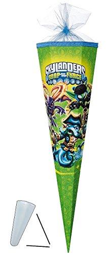 Unbekannt Schultüte - Skylanders 22 cm - mit / ohne Kunststoff Spitze - Tüllabschluß - Zuckertüte Nestler - für Jungen SWAP Force Skylander Wash Buckler Warnado (Skylanders Jungen Und)