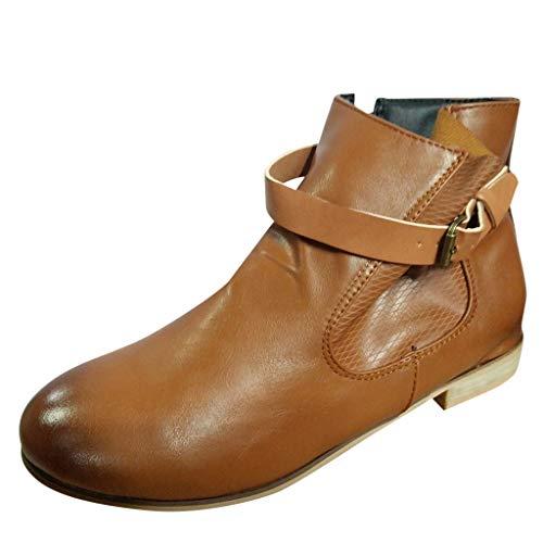 SHE.White Damen Stiefelette | Biker Boots | Trendy Lederoptik | Flache Römische Booties | Retro Flache Schuhe | Große Größe Schnallenriemen | Herbst- und Wintersaison Stiefel 35-43