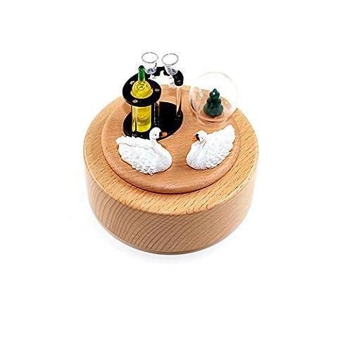 Boîte à musique en bois Swan carrousel en bois Boîte à musique cadeau de Noël Anniversaire Mariage Artisanat Vintage Décoration maison pour l'art,Saint Valentin, anniversaire de mariage,mariage,enfants jouets, anniversaire,cadeaux,festival,l'obtention du diplôme et de souvenirs activités célébrant etc