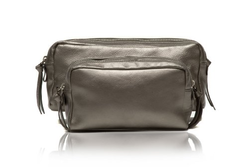 Make Classic Leather Wash Bag in Metallic Gold, Silver, Bronze, Pewter (Small, Pewter)