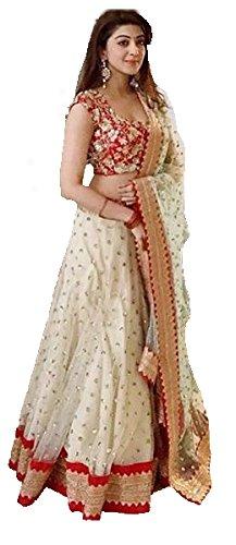 Surat4fashion Women\'s White Silk Semi-stitched Lehenga cholis(Xh143_White_Freesize)