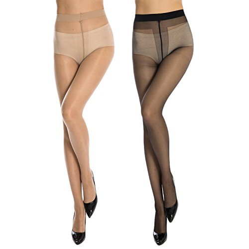 Neska Moda Women's 2 Pair Black and Skin Panty Hose Long Comfort Stockings