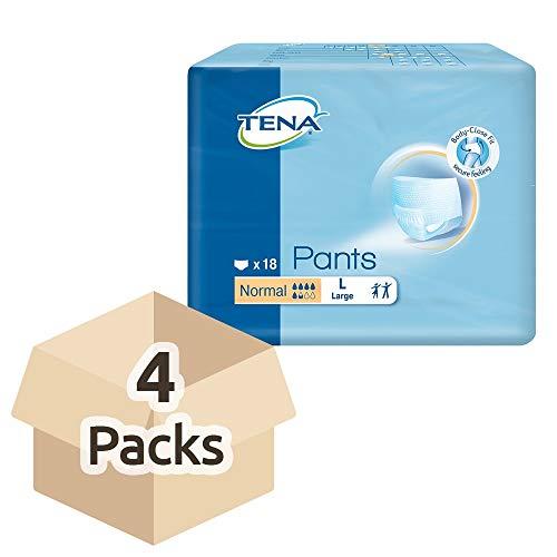 TENA Pants Normal Inkontinenzunterhosen, Größe L, 4er Pack (4 x 18 Stück)