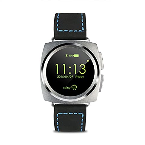 RG Multifonctionnel Bluetooth montre Smart Watch Health Tracker Remote Camera Voice Recorder, Microphone intégré Bracelet Sport pour IOS Android - Cuir noir