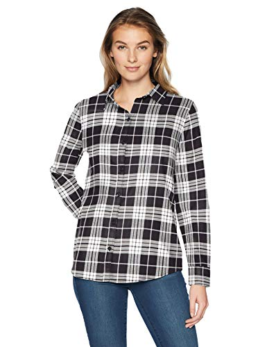 Amazon essentials Damen Langarm kariertes Flanellhemd,Schwarz (black plaid), Small