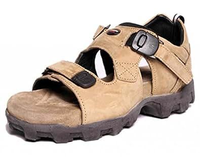Woodland Men's Khaki Nubuck Leather Sandals and Floaters - 10 UK/India (44 EU)