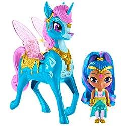 Shimmer And Shine Shine y Zahracornio mágico Volador, muñeca con Unicornio de Juguete, (Mattel GCM02)