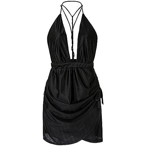Da Wu Jia Ms. biancheria intima sexy di lusso a V profondo appeso al collo cinturino di colore solido Dress , nero , XXL