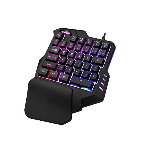 Jamicy Gaming Tastatur, G30 Kabelgebundene Gaming Tastatur mit LED-Hintergrundbeleuchtung 35 Tasten Einhändige Folientastatur (Tastatur Wechseln)