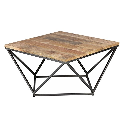 Tousmesmeubles Table Basse Carrée Métal/Bois - Knox - L 95 x l 95 x H 50 - Neuf