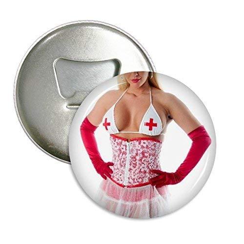 DIYthinker Boobs Kleid Uniform Krankenschwester Sexy Mädchen Runde Flaschenöffner Kühlschrank Magnet Pins Abzeichen-Knopf-Geschenk 3pcs