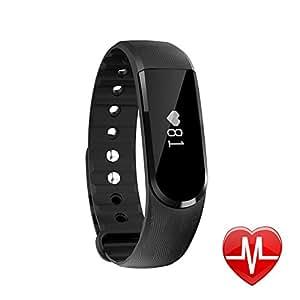 Montre Connectée, Letscom Fitness Tracker d'activité Cardiofréquencemètre Etanche Bluetooth Podomètre Tracker Sommeil Notification Musique Caméra Contrôle pour Android iOS