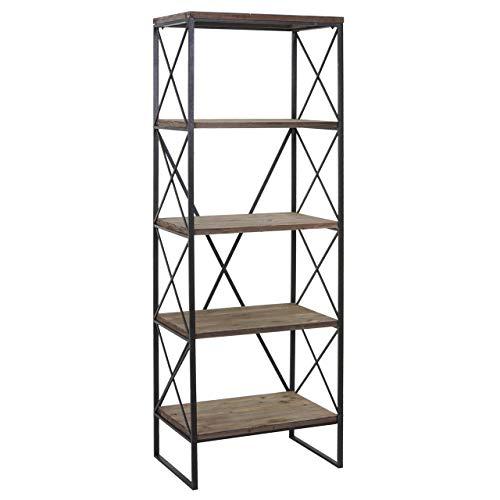 Bücherregal HWC-C10, Standregal Wohnregal, Echtholz Metall ~ 5 Ebenen, 174x60cm