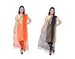 Dupatta Bazaar Womens Dupatta (Pack of 2)(CD0027_Multicoloured_Free Size)