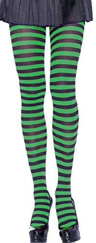 Leg Avenue Damen Strumpfhose 60 DEN Schwarz Grün quer geringelt Einheitsgröße 36 bis 40